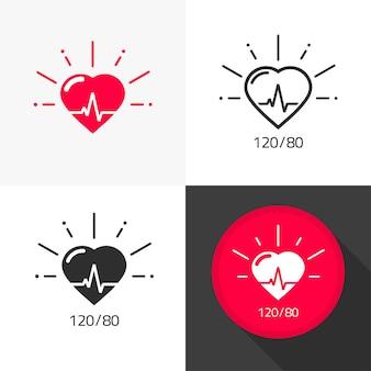 Medizinischer symbolvektor des herzgesundheitswesens mit flachem cartoon des herzschlagpulses und des blutdruckpiktogramms