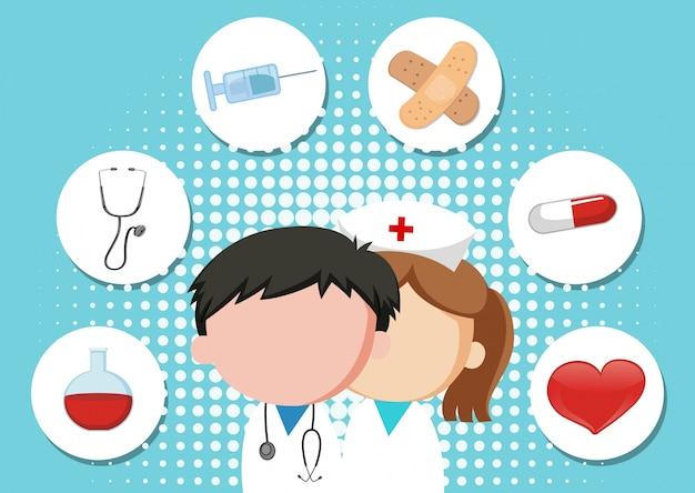 Medizinischer themahintergrund mit doktor und ausrüstungen