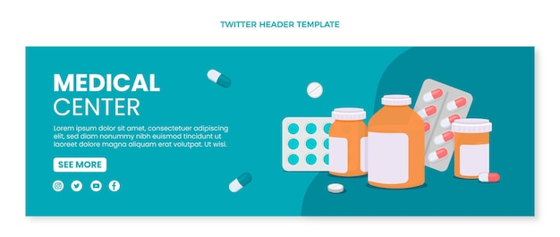 Medizinischer twitter-header im flachen design