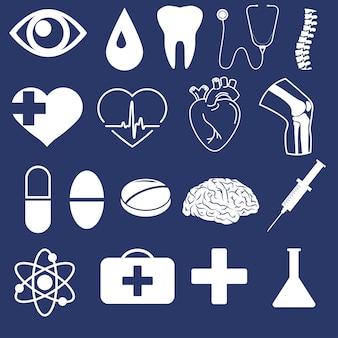 Medizinischer umriss-icon-set. menschliches herz, knie, gehirnorgan. anatomiesymbol, spritze. kardiologie lineares zeichen. augenlinie kunst. vektorgrafiken