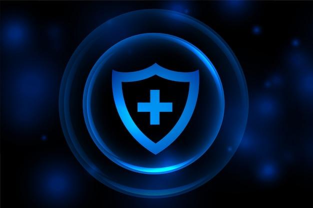Medizinischer unterstützungsschildhintergrund mit schutzschichten