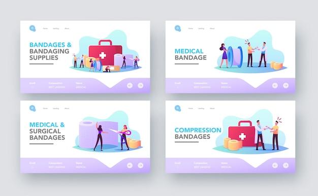 Medizinischer verband des patienten-landing-page-vorlagensatzes. krankenschwester traumatologe im krankenhaus bandagieren hand, kleine charaktere in der riesigen sanitäter stuff box oder bandage roll. cartoon-menschen-vektor-illustration