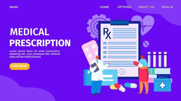 Medizinischer verschreibungsservice, landungsillustration. medikamentenlistendokument für die patientenversorgung. arzt verschreiben