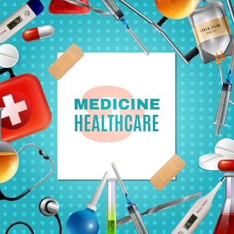 Medizinischer zubehör-produkt-bunter hintergrund-rahmen