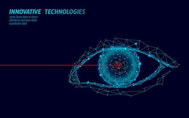 Medizinisches 3d-konzept zur lasersichtkorrektur. abstrakte menschliche iris moderne operationschirurgietechnologie low poly. polygonale wiedergabeform der dreiecke bildet biometrische identitätsillustration