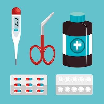 Medizinisches Ausrüstungselementikonenvektor-Illustrationsdesign