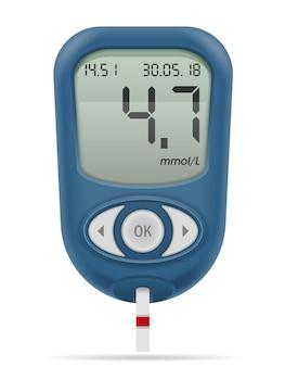Medizinisches blutzuckermessgerät für diabetiker illustration isoliert auf weiß
