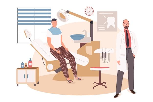 Medizinisches büro-web-konzept. patient sitzt beim zahnarzttermin im stuhl. behandlung und diagnose von zähnen, zahnersatz