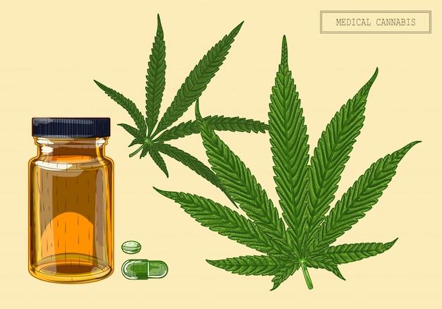 Medizinisches cannabis zwei blätter und fläschchen