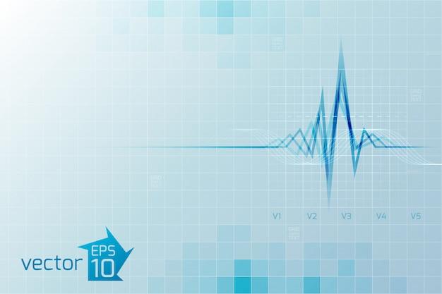 Medizinisches cardio mit kardiogramm im digitalen stil auf hellblau