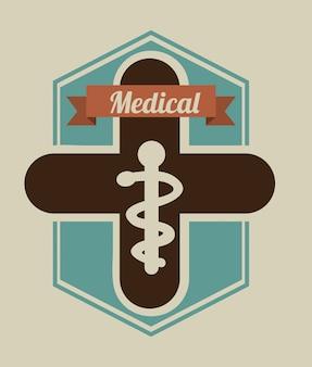 Medizinisches design über beige hintergrundvektorillustration