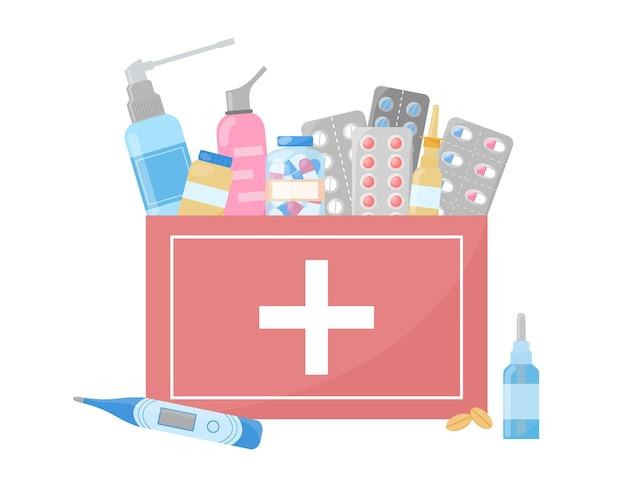 Medizinisches erste-hilfe-set medikamente pillen kapseln sprays flaschen in box hausapothekeprodukte