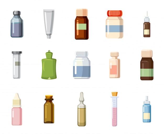 Medizinisches flaschenset. karikatursatz der medizinischen flasche