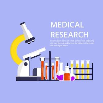 Medizinisches forschungskonzept, mikroskop und bluttest, wissenschaftlerforschung. globale epidemie oder pandemie. covid-19, coronavirus-krankheit. virentest. vektor