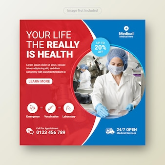Medizinisches gesundheitswesen-banner oder quadratischer flyer für social-media-post-vorlage