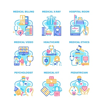 Medizinisches gesundheitswesen stellten ikonen-vektor-illustrationen ein. medizinisches lehrvideo und anrufkommunikation arzt mit patient, kinderarzt und psychologe, röntgen- und raumfarbillustrationen
