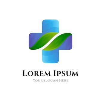 Medizinisches gesundheitswesenlogo mit medizinischer kreuzsymbolkombinationsblattform