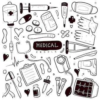 Medizinisches handgezeichnetes gekritzel-sammlungsset