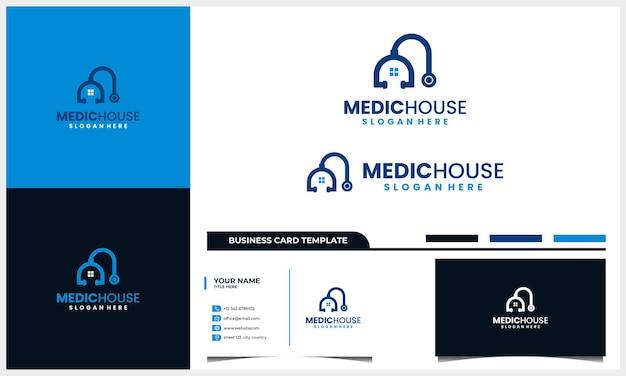 Medizinisches hauptlogoentwurf mit stethoskop und hausikonenkonzept und visitenkartenschablone