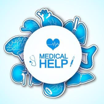 Medizinisches hilfeplakat mit vielen bildern menschlicher organe einschließlich herz