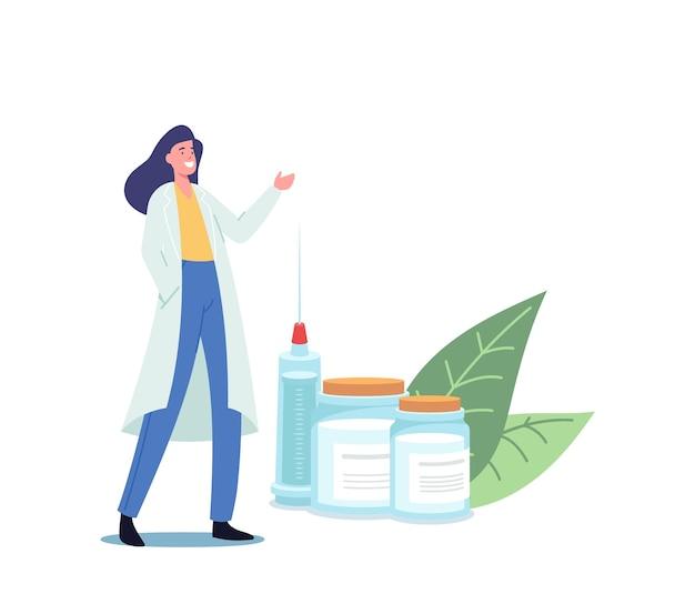 Medizinisches impfkonzept. winzige ärztin mit riesiger spritze lädt zur immunisierung mit impfinjektionsdosis zur vorbeugung von krankheiten, gesundheitswesen ein. cartoon-vektor-illustration