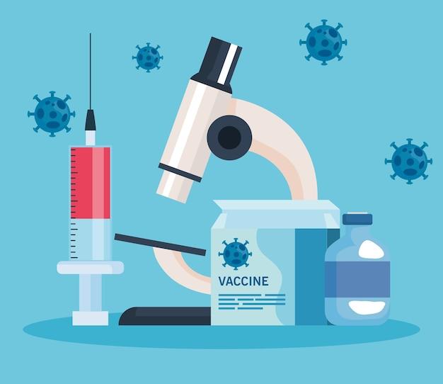 Medizinisches impfstoffforschungs-coronavirus mit mikroskop und symbolen der labor-, medizinischen impfstoffforschung und pädagogischen mikrobiologie für die illustration des coronavirus covid19
