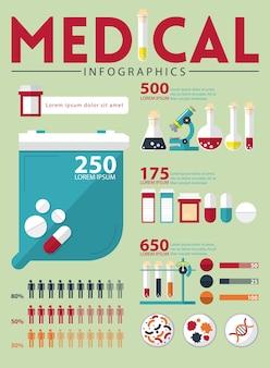 Medizinisches infographics im flachen design