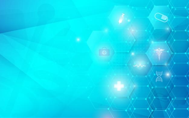 Medizinisches innovationskonzept der gesundheits- und wissenschaftsikonen. abstrakter geometrischer futuristischer technologiehintergrund