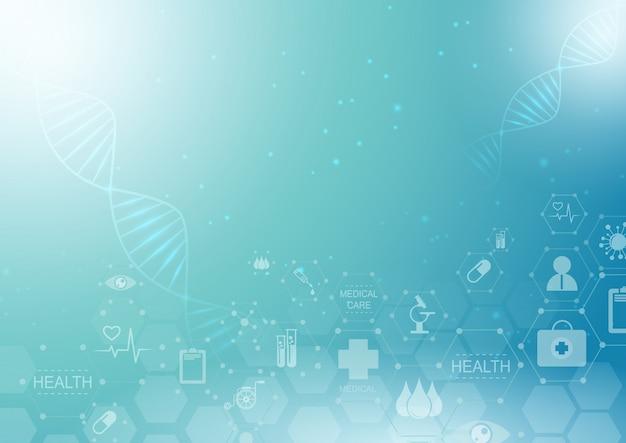 Medizinisches innovationskonzept des abstrakten hintergrundgesundheitswesens und des wissenschaftsikonenmusters.