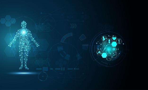 Medizinisches konzept der digitalen gesundheit der technologie menschlicher digitaler medizinischer hintergrund