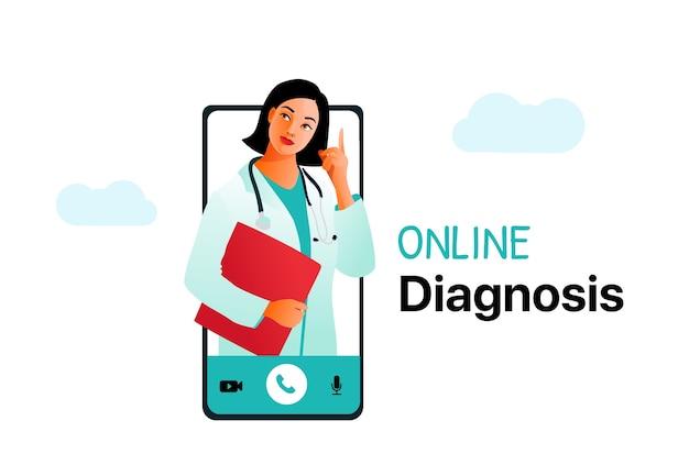 Medizinisches konzept der online-diagnose. ärztliche beratung über das internet.