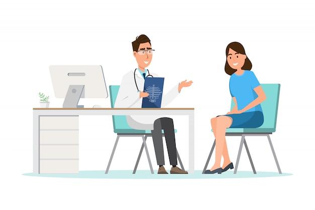 Medizinisches konzept. doktor mit frauenpatient in der flachen karikatur auf krankenhaushalle