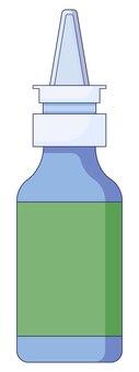 Medizinisches konzept nasenspray bei erkältungen grippe husten medizinsprays in der nase flach