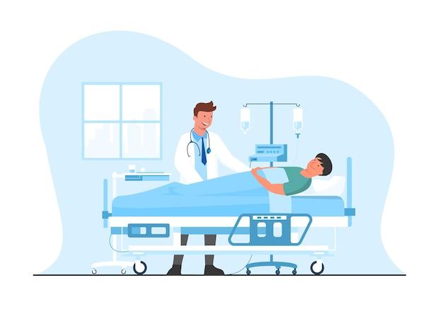 Medizinisches konzept von arzt und patient. krankenhauspatient liegt im krankenhausbett