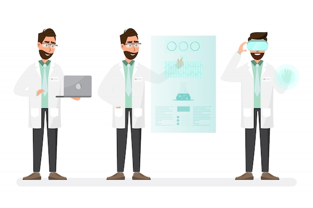 Medizinisches konzept wissenschaftler mann mit technologie in einem labor