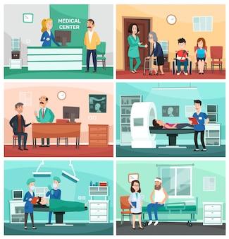 Medizinisches krankenhaus. klinische sorgfalt, notkrankenschwester mit patienten und krankenhäuser behandeln karikaturillustration