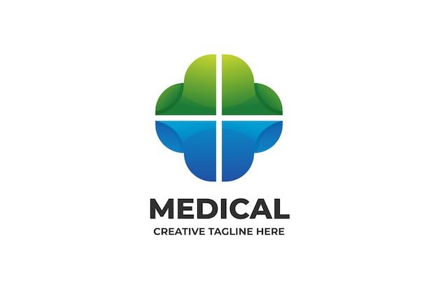 Medizinisches krankenhaus mit farbverlauf-logo