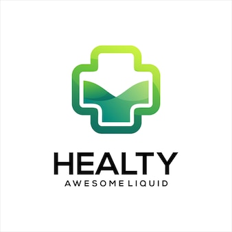 Medizinisches kreuz logo farbverlauf grüne farbe