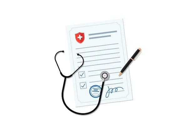 Medizinisches leeres dokument mit stethoskop- und stiftarzt-rezeptformular oder krankenversicherung