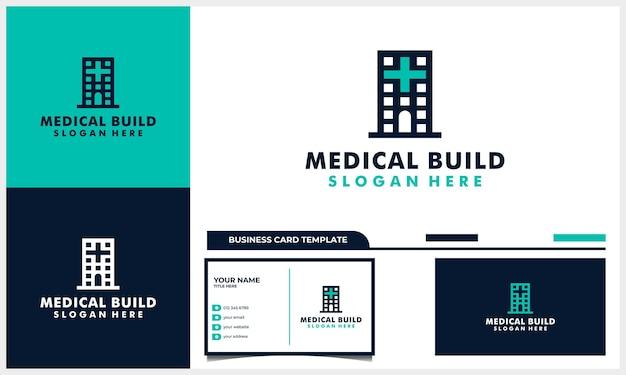 Medizinisches logo-design mit gebäudearchitektur und visitenkartenvorlage