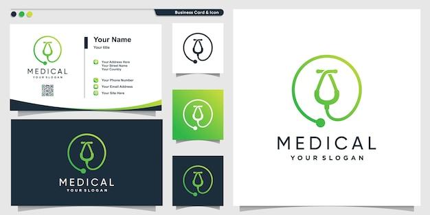 Medizinisches logo mit kreativer moderner strichgrafikart und visitenkarten-entwurfsschablone, gesundheit, sanitäter, schablone