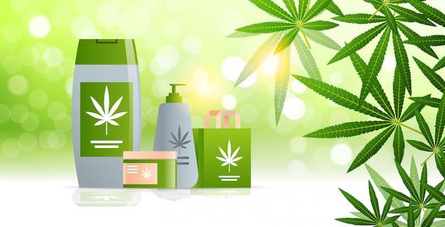 Medizinisches marihuana cannabis verpackung bio hanf produkt label logo grün farm konzept horizontale flach