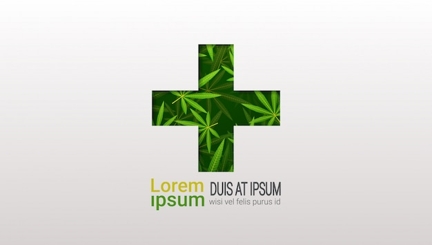 Medizinisches marihuana des grünen kreuzes lässt cannabis-therapie-gesundheitskonzeptkopierraum horizontal flach