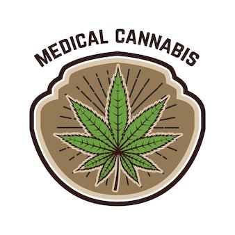 Medizinisches marihuana. emblemschablone mit cannabisblatt. gestaltungselement für logo, etikett, emblem, zeichen.