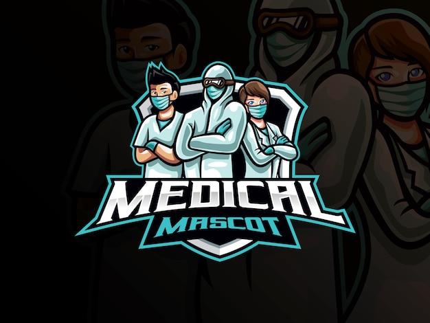 Medizinisches maskottchen-esport-logo. maskottchen-logo des medizinischen teams. gesundheitsmaskottchen an vorderster front für das esport-team.