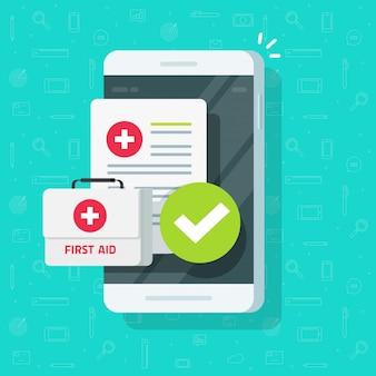 Medizinisches material am handy oder telemedizin auf flacher karikatur des mobiltelefons