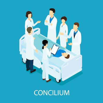 Medizinisches meeting isometrisches konzept