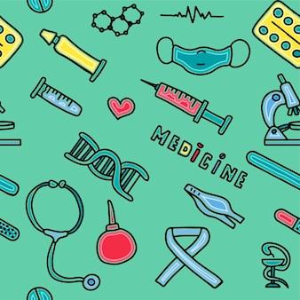 Medizinisches nahtloses muster medizinisches doodle-poster mit medikamenten-reagenzgläsern und einem großen pharm...