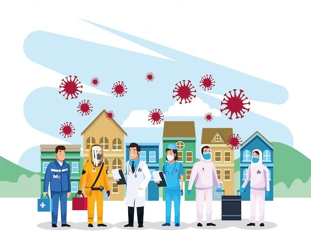 Medizinisches personal arbeitet mit covid19-partikeln zusammen