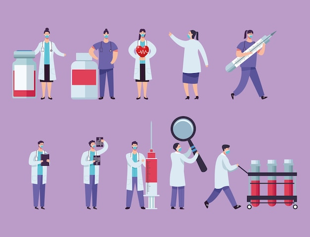 Medizinisches personal, das gesichtsmaske mit illustration der medizinausrüstung trägt